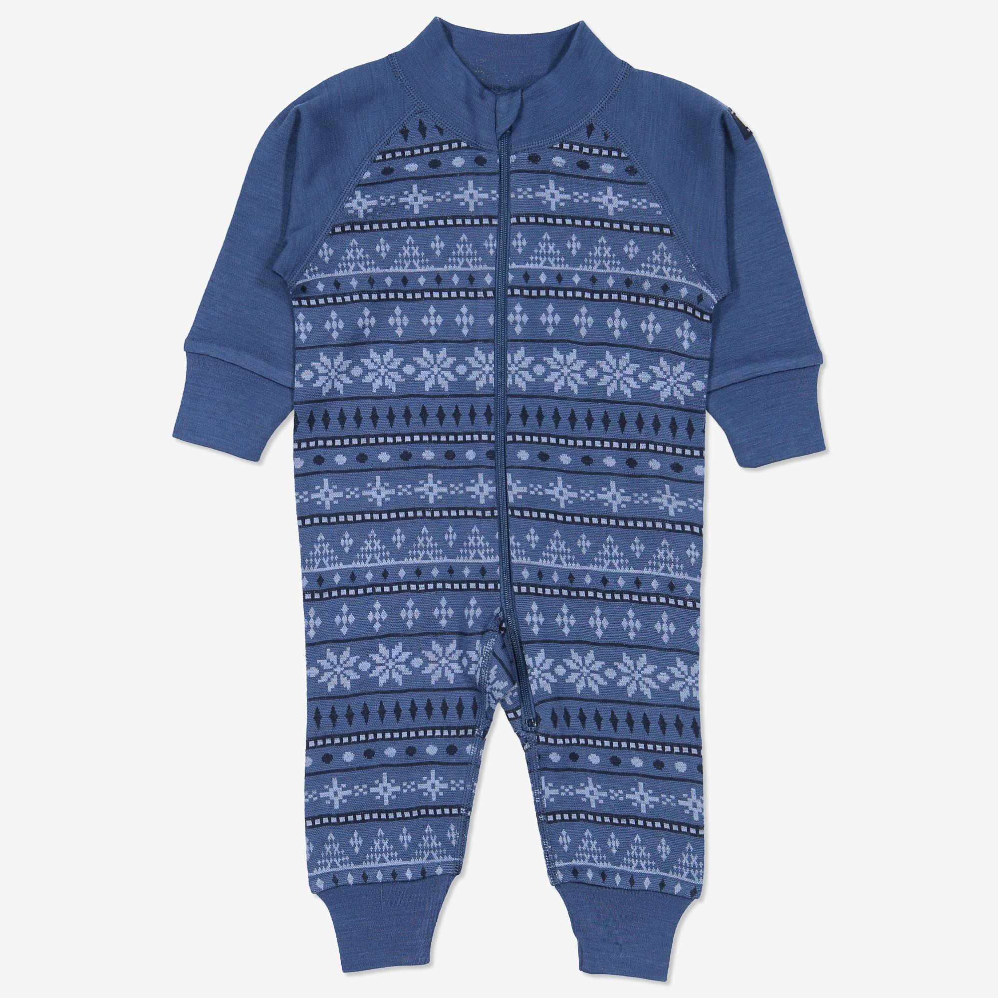 b2716338 Dress ull jaquardmønstret nyfødt blå