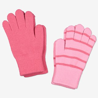 Strikkede fingervanter 2-pakning rosa