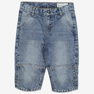 Ensfarget shorts blå denim