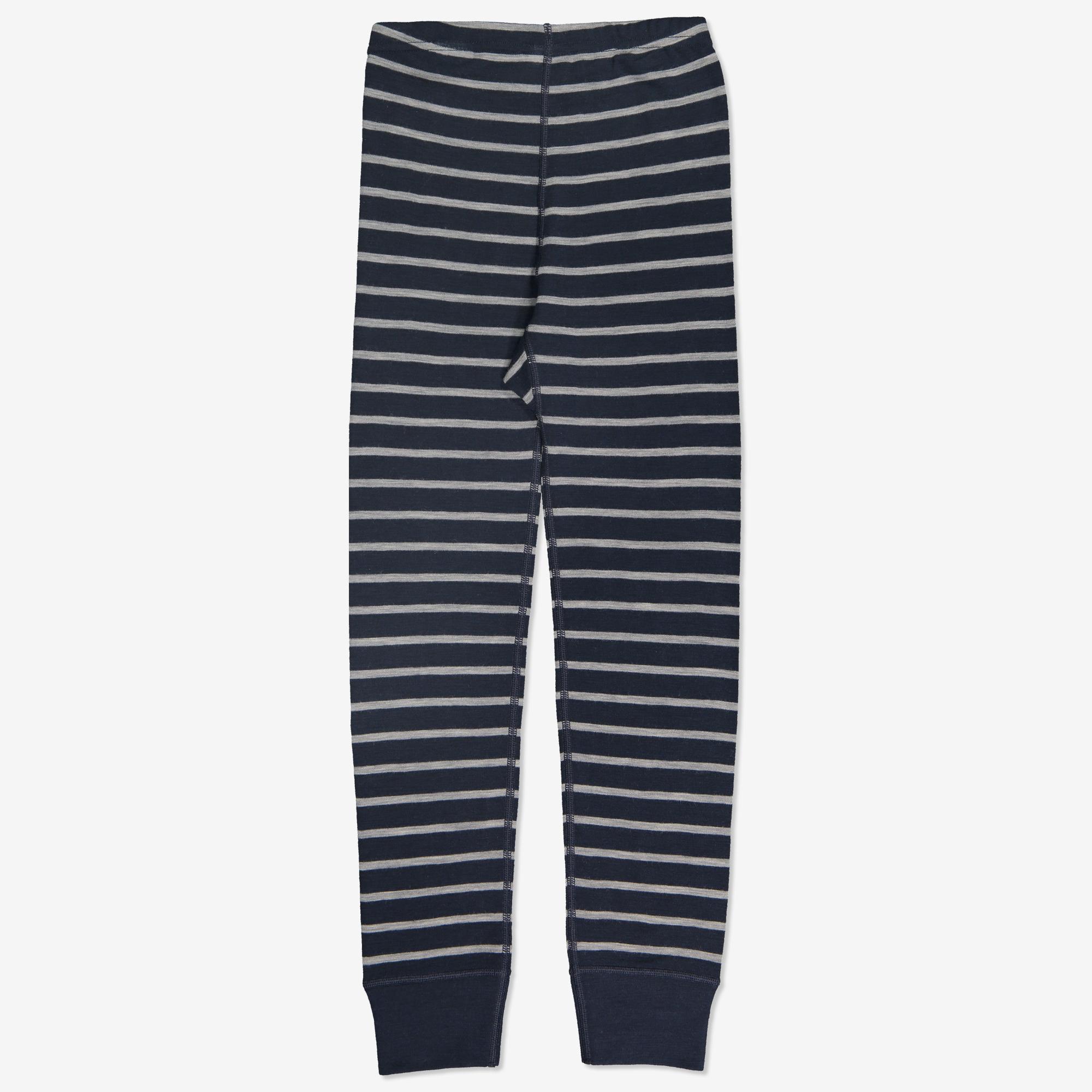 Merinoull stripet bukse mørkblå   Polarnopyret.no